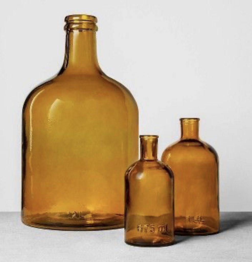 Hearth & Hand Vintage Amber Bottles