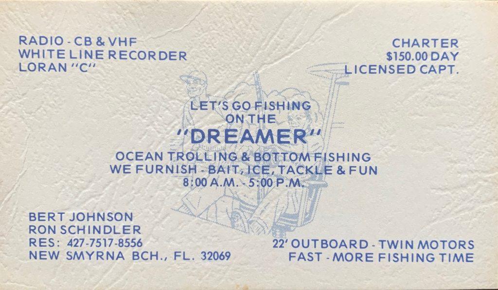 """Bert's """"Dreamer"""" business card."""