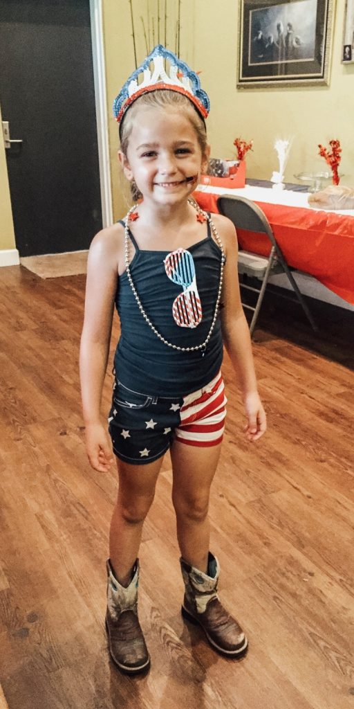 Reagan decked out in her patriotic style.